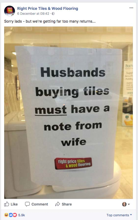 Tile shop refuses to sell tiles to men without note from wife ...