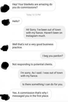 Guy asks someone to make him a blanket and the furious exchange that