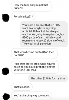 Guy asks someone to make him a blanket and the furious