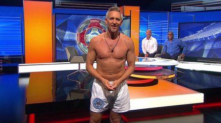 Gary Lineker has promised to strip down further than his underpants on bobby charlton, david seaman, bobby moore, john barnes, emile heskey, match of the day, paul gascoigne, kenny dalglish, george best, mark hughes, david platt, harry redknapp, alan shearer, gordon banks, danielle bux, alex ferguson, ian rush, kevin keegan, ian wright, jamie redknapp,
