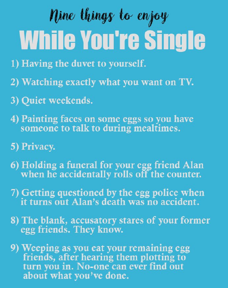 b4c70d308 This list of things to enjoy while you're single gets a bit weird ...