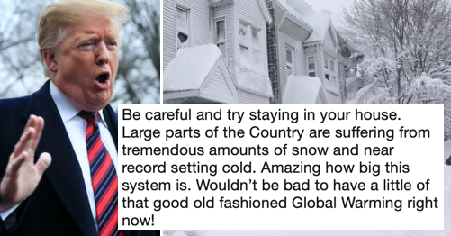 Donald Trump used the snow to mock global warming and this brutal takedown will warm your chilly bones