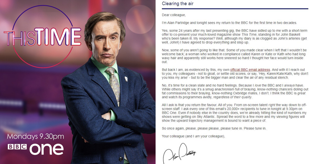 Alan Partridge just emailed everyone at the BBC and it's ruddy brilliant