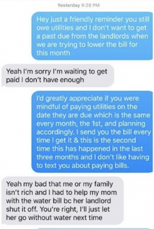 This exchange with a housemate late paying a bill will strike a