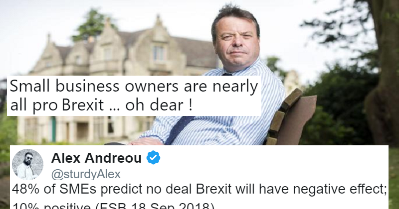 Arron Banks overstated the support for Brexit from small businesses and got schooled