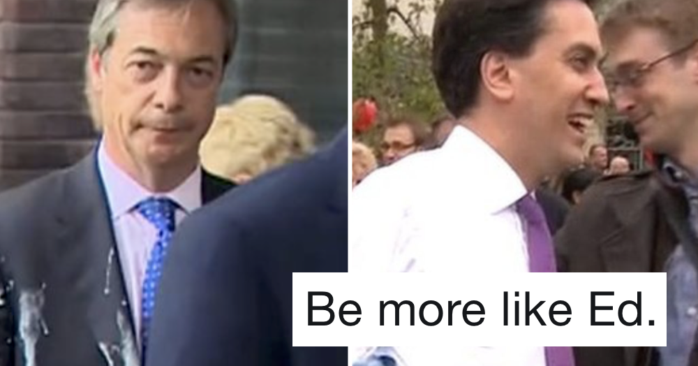 People are comparing Nigel Farage with how Ed Miliband reacted to being egged
