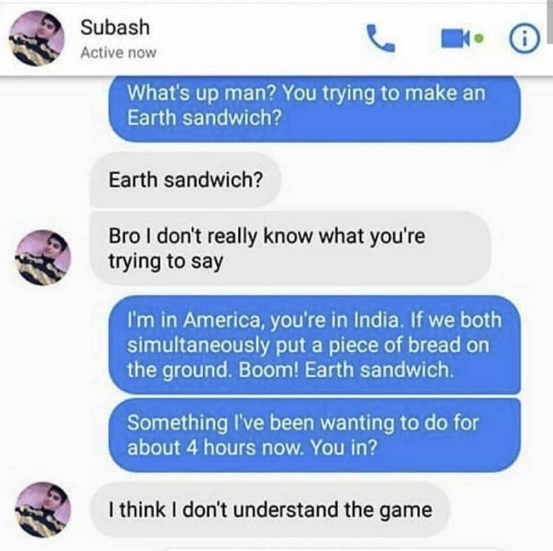 """Flashback to the greatest Twitter exchange of all time - """"Earth sandwich"""""""