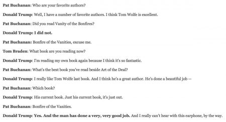 Donald Trump asked about his favourite author is a very funny and revealing read