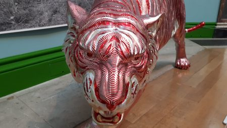 This amazing tiger sculpture made out of Tunnocks Teacake wrappers really takes the biscuit