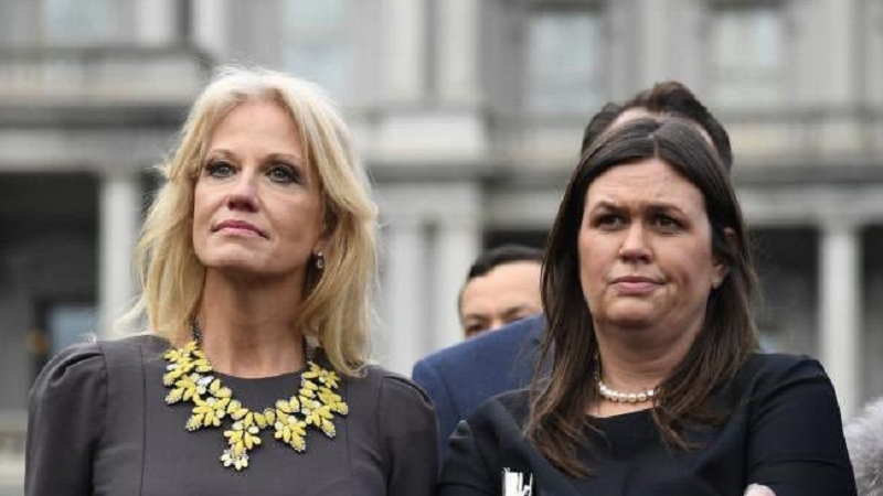 15 hilariously scathing captions for this photo of Kellyanne Conway and Sarah Sanders