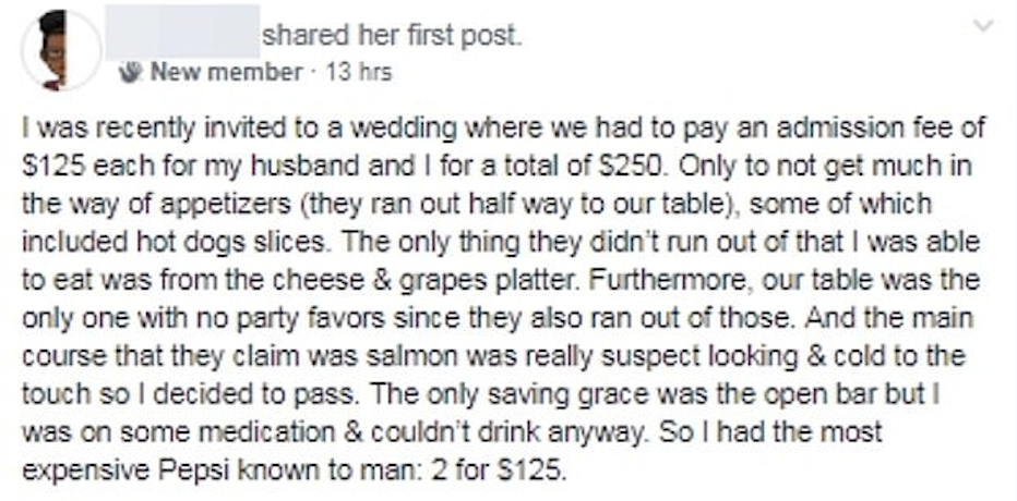 A couple charged people £100 each to come to their wedding and the entire internet said no