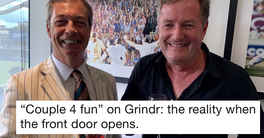 Simply 17 funny captions to go with this picture of Nigel Farage and Piers Morgan at the cricket