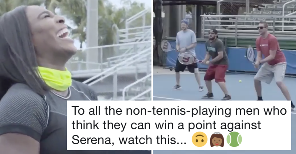 Just a very funny video of some men trying to return a Serena Williams serve
