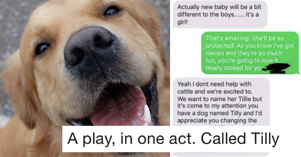 This mum's not happy a friend's dog has the name she wants to call her baby and it's a furiously funny read