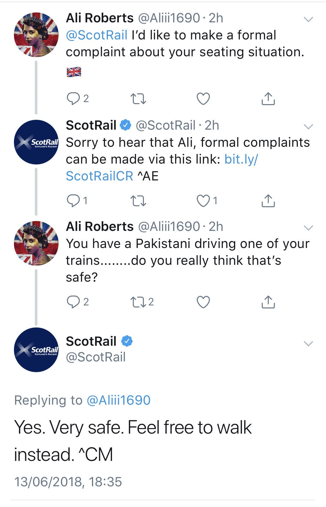 People loved ScotRail's takedown of this idiot who got exactly what he deserved