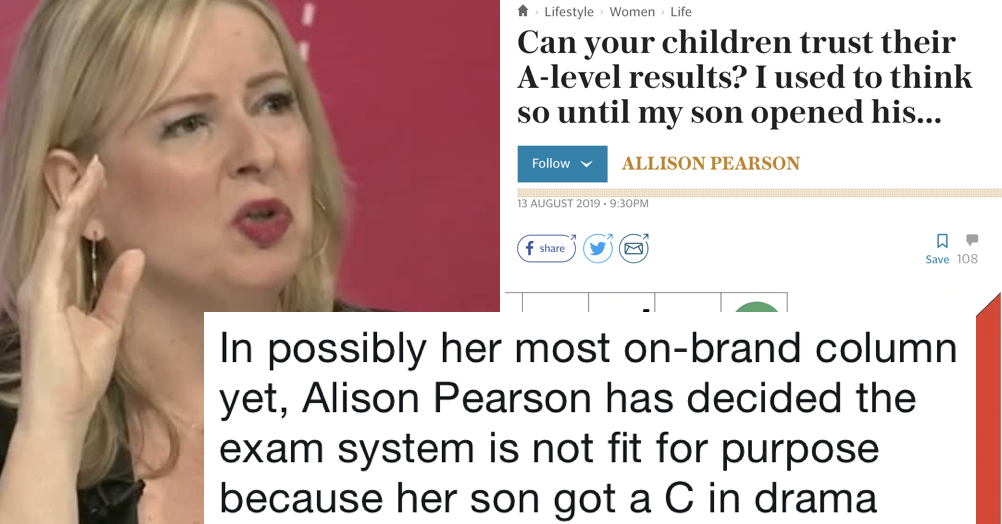 Allison Pearson's column about her son's A-Level result might be her most on-brand column yet