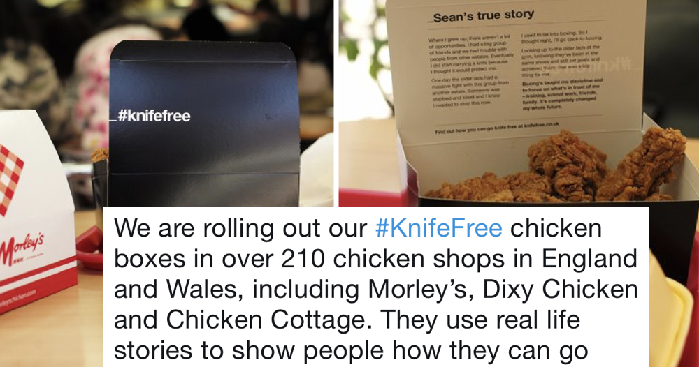 The government is using chicken boxes to tackle knife crime and the internet can't believe it