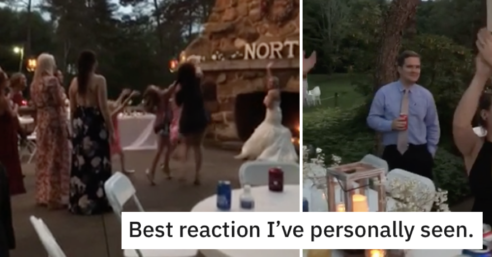 Guy reacts to his girlfriend catching the bouquet at a wedding
