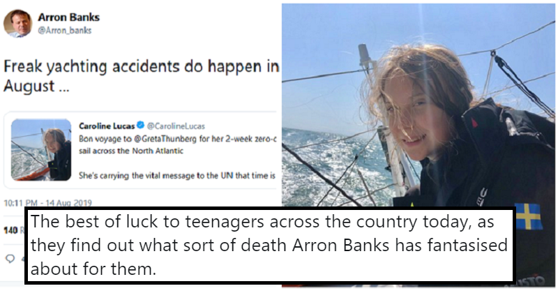 Arron Banks' response to Greta Thunberg's sea trip marked a new low – 12 condemnations