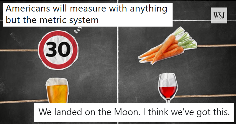 """""""Americans will measure with anything but the metric system"""""""