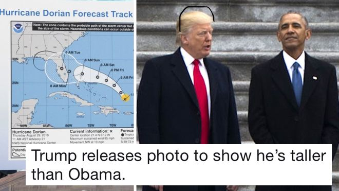 Donald Trump's hurricane map was doctored with a felt tip so people did it to other Trump pictures and it's brilliant