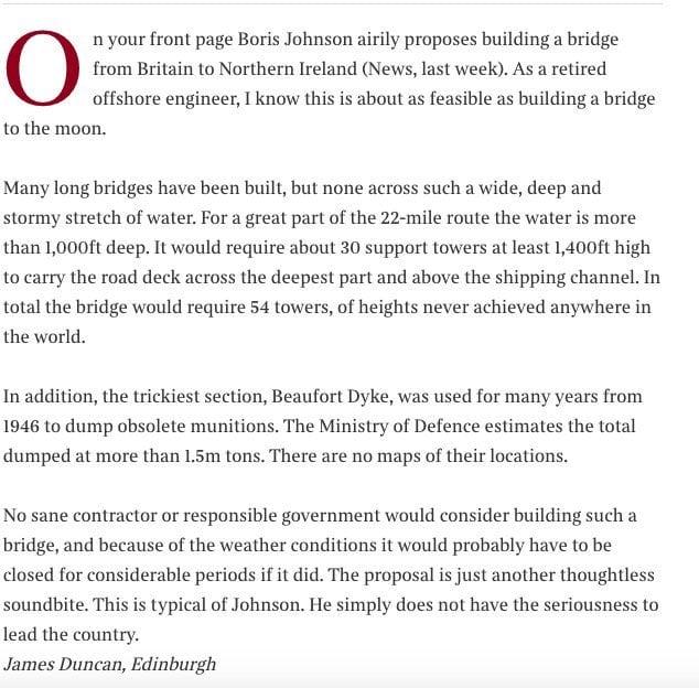 This engineer's demolition of Boris Johnson's idea for a Scotland-N Ireland bridge is devastating stuff