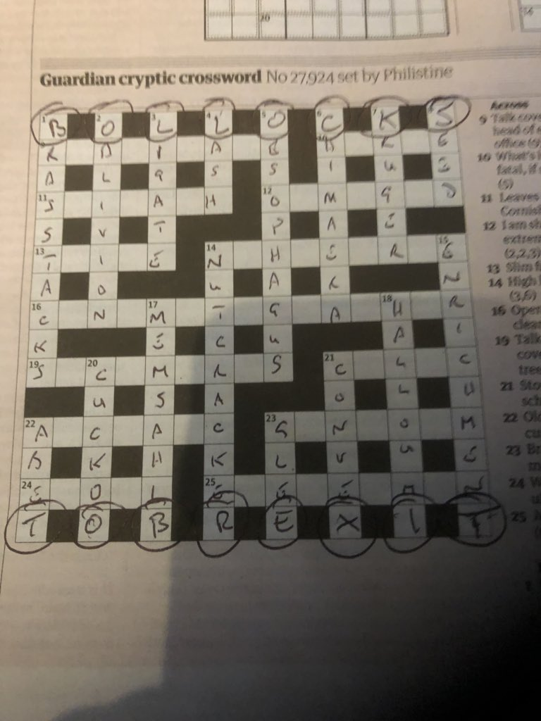 The Guardian's cryptic crossword had a secret message for readers not keen on Brexit