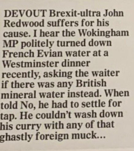 John Redwood refused to drink foreign bottled water and it's a mouth-watering self own