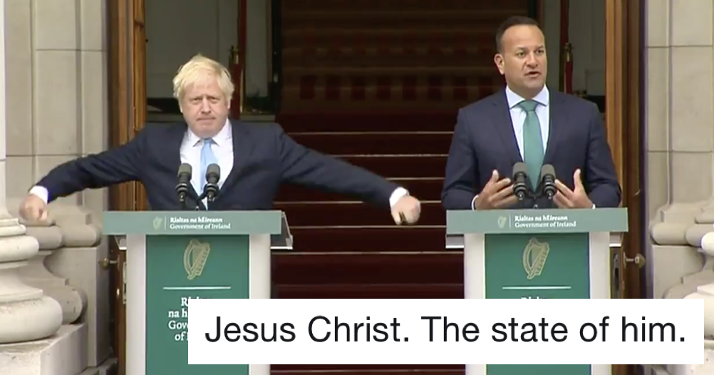 Boris Johnson's fidgeting while he is schooled by Irish PM Leo Varadkar is today's oddest thing