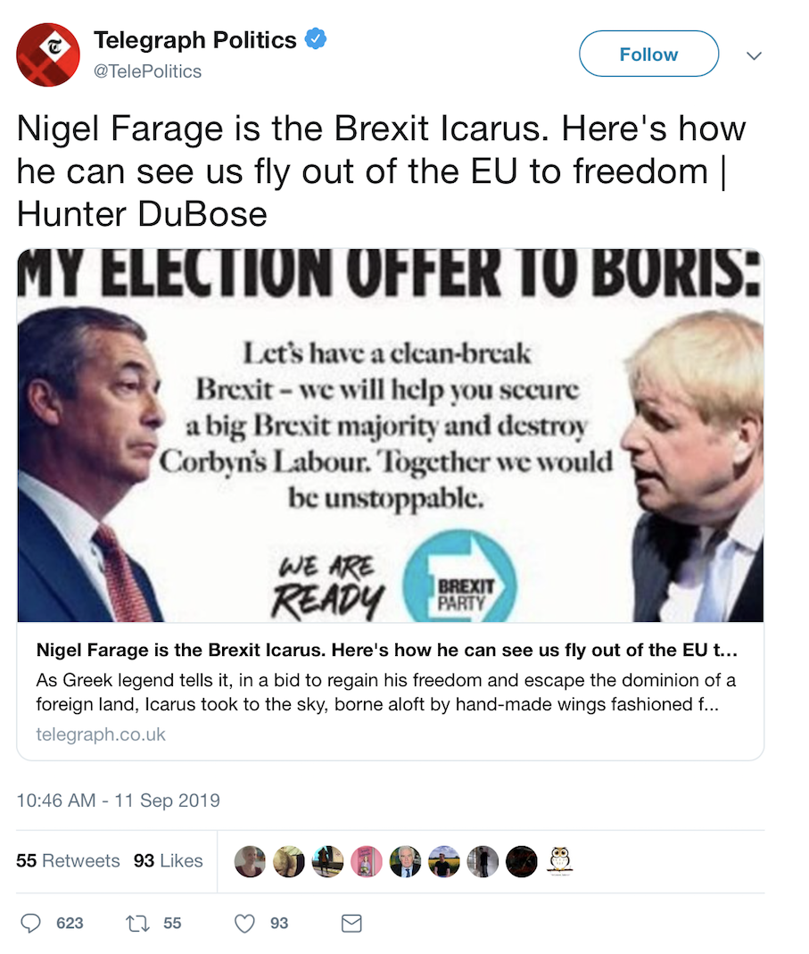 The Telegraph said Nigel Farage was a 'Brexit Icarus' and Emily Maitlis had the perfect response