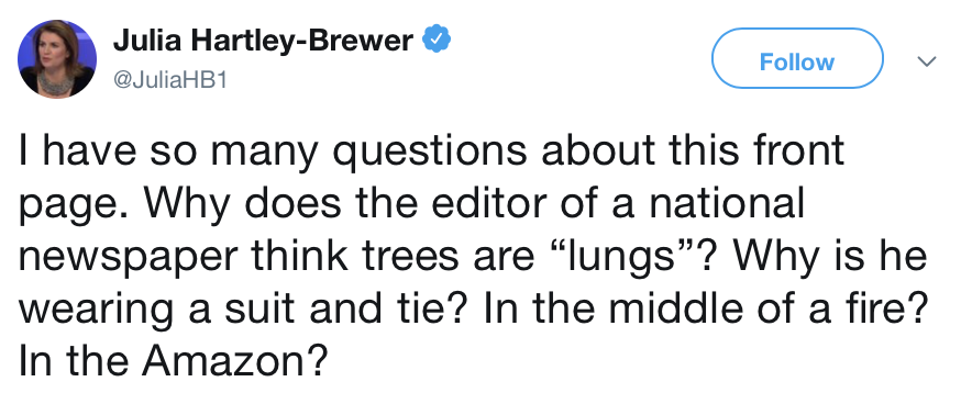 Julia Hartley-Brewer doesn't understand this climate change front page – 9 responses to take your breath away