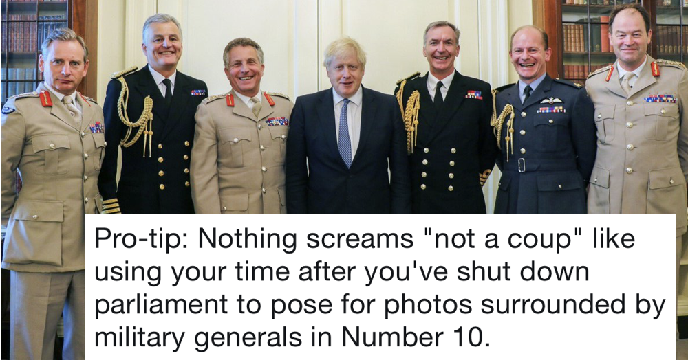 14 funny things people said about this pic of Boris Johnson and his military top brass