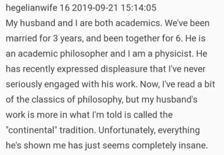 Physicist wife runs out of patience with 'insane' philosophical husband and it's a very funny read