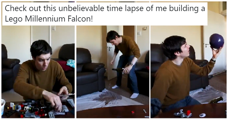 This time lapse of someone building a Lego Millenium Falcon takes some darkly hilarious turns