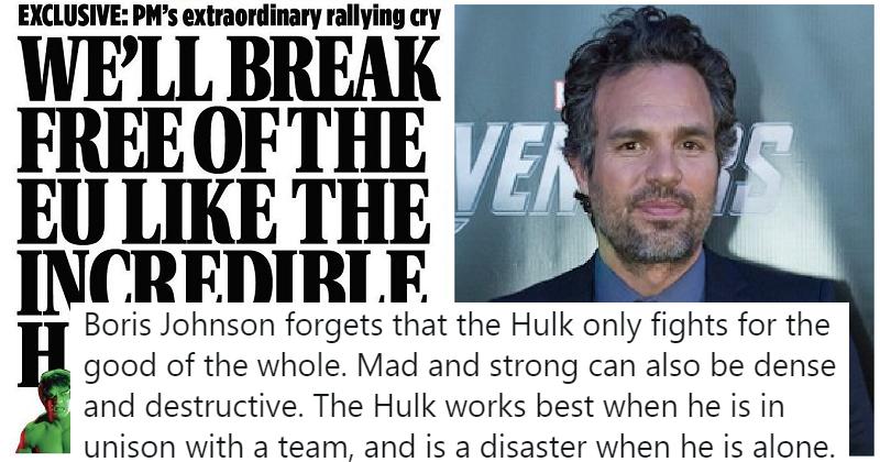 Mark Ruffalo owned Boris Johnson for his terrible Hulk analogy and it's just glorious