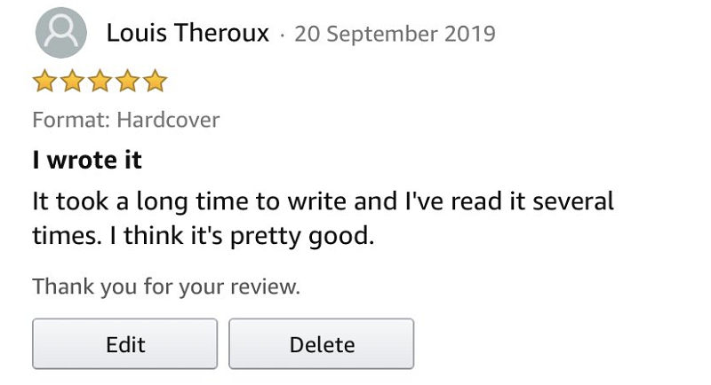 We can't believe Amazon removed Louis Theroux's review of his own book – actually we can