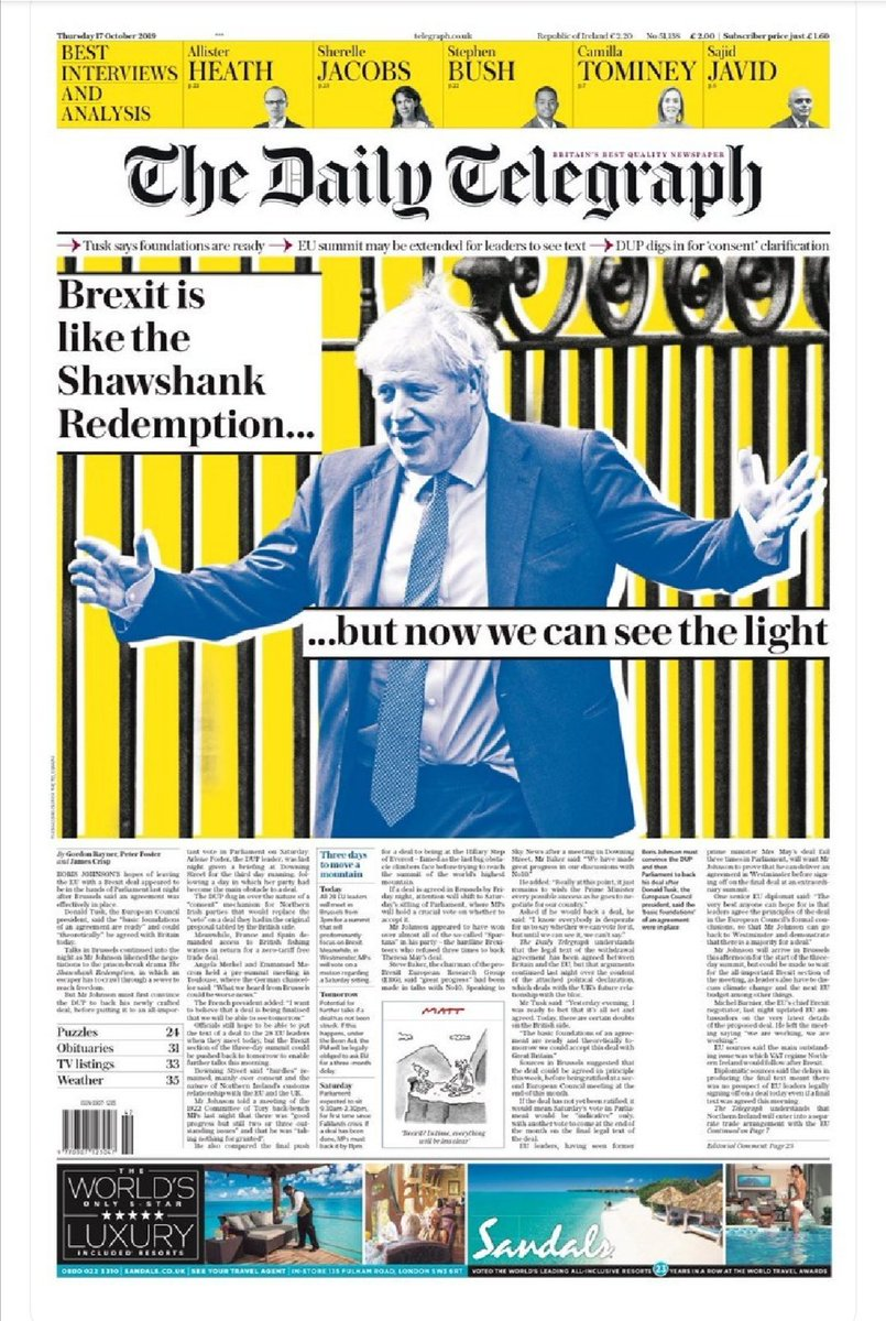 Boris Johnson said Brexit was like the Shawshank Redemption – 5 favourite responses to today's Telegraph front page