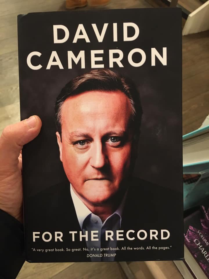 Someone sneakily changed the cover of David Cameron's book in Foyles and it's glorious