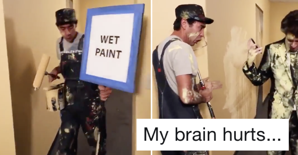 A funny sketch that is also a very clever optical illusion and it's melting people's brains