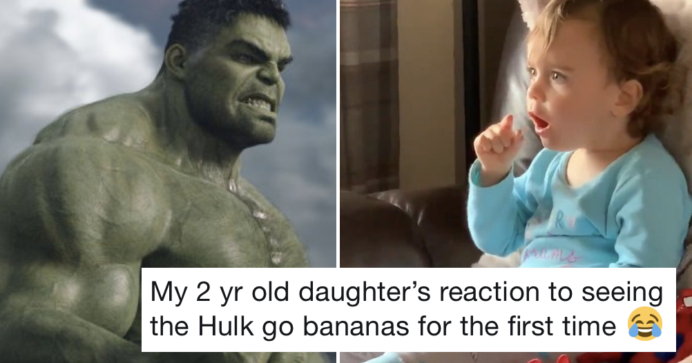 This 2 y/o seeing the Hulk for the first time is a lovely, very funny watch