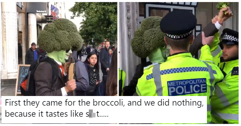 Police arrested a man who was dressed as broccoli and the internet made a meal out of it