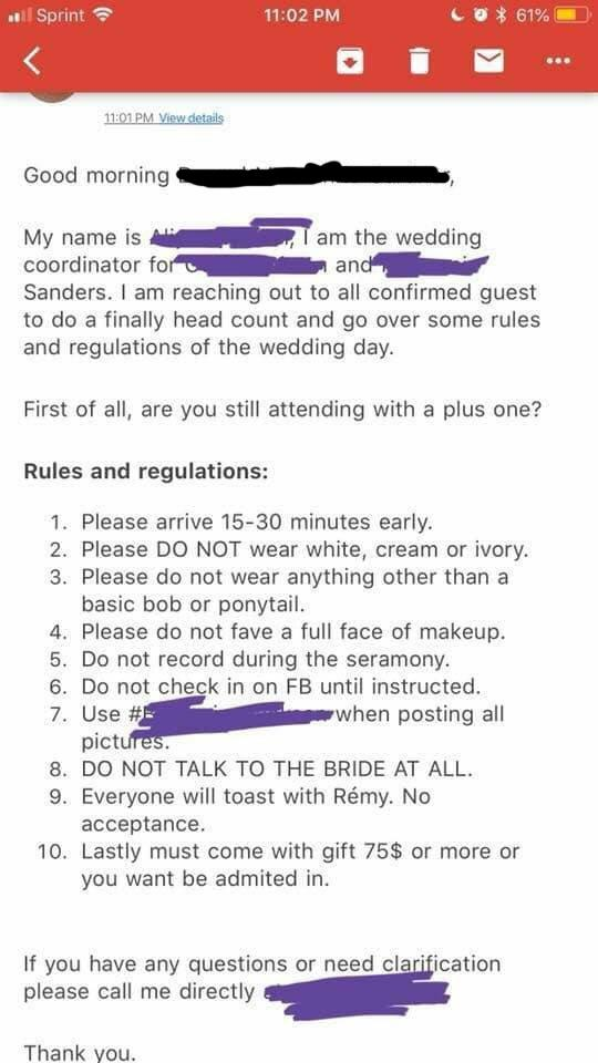 This couple's list of rules for their wedding guests went viral because it's outrageous and so badly done