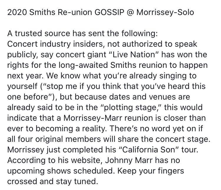 Johnny Marr's 4-word shutdown of Smiths reunion rumours was the perfect Morrissey pisstake