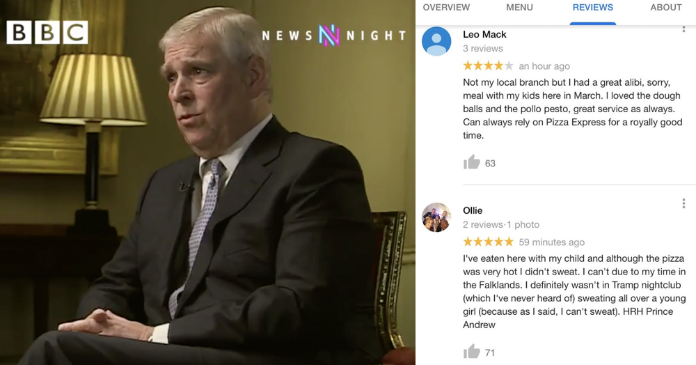 The Pizza Express Used By Prince Andrew As An Alibi Has Been
