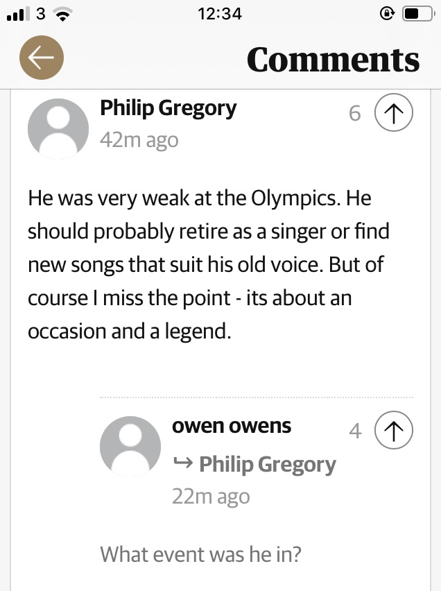 This Guardian reader's not happy about Paul McCartney at Glastonbury and it prompted today's favourite joke