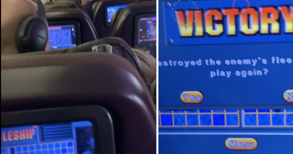 This guy was playing Battleships on a plane when he spotted his opponent was sat in front of him