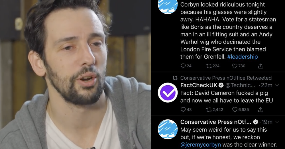 Ralf Little played the Tory party at its own game by rebranding his Twitter feed and it's perfect