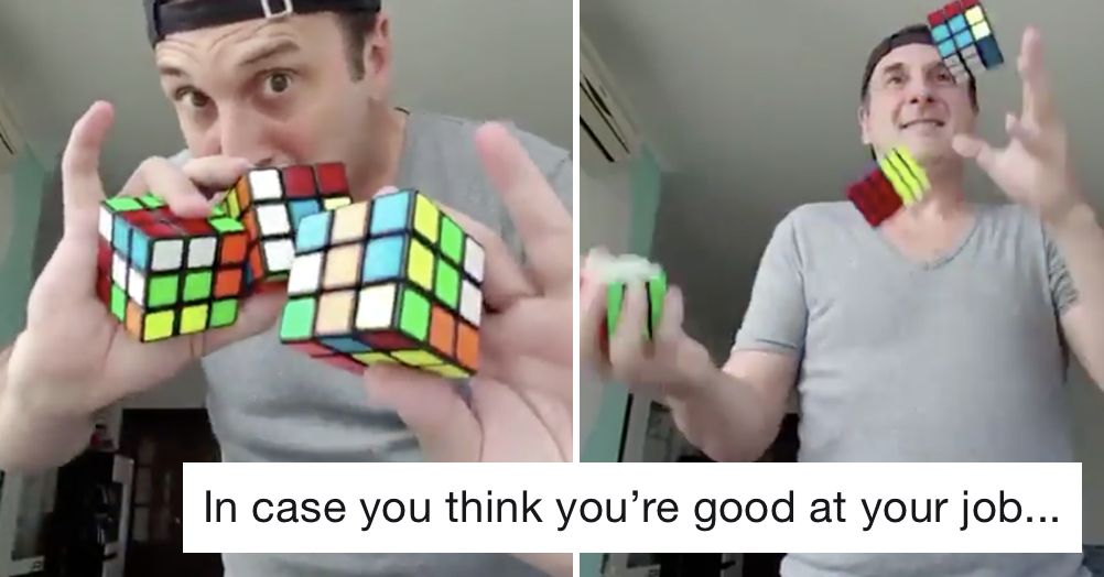 This guy's juggling Rubik's cube trick is melting people's brains