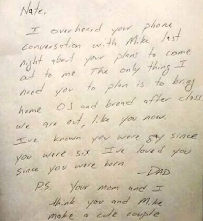 This heartwarming note to a not-yet-out gay son wins the Dad of the Year award