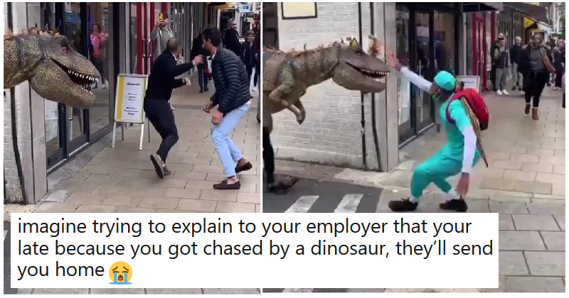 We can't stop watching this hilarious dinosaur costume prank